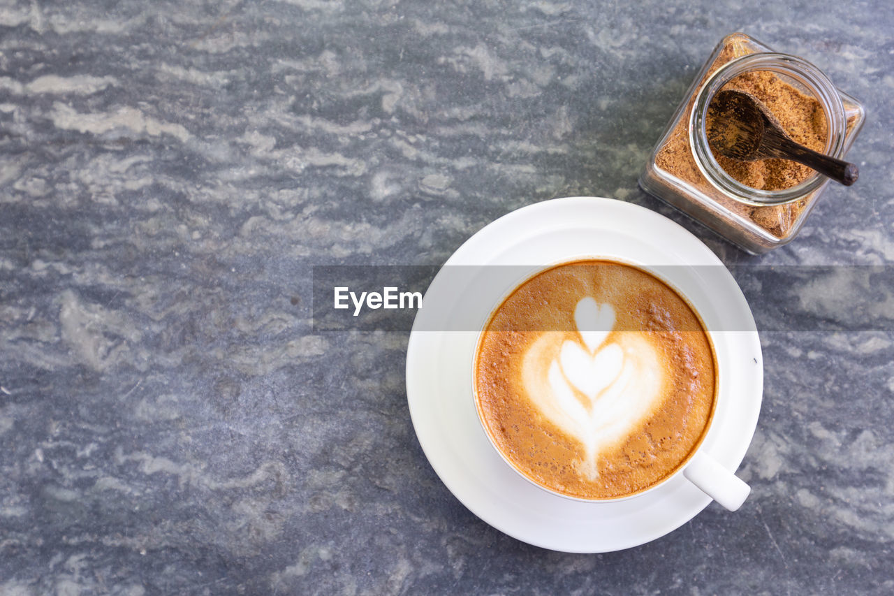 drink, coffee, coffee - drink, food and drink, refreshment, coffee cup, cup, still life, mug, table, frothy drink, hot drink, indoors, cappuccino, directly above, no people, froth art, high angle view, saucer, freshness, latte, crockery, non-alcoholic beverage