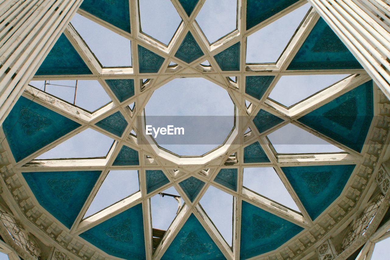 architecture, built structure, low angle view, sky, pattern, day, no people, outdoors, building exterior, close-up