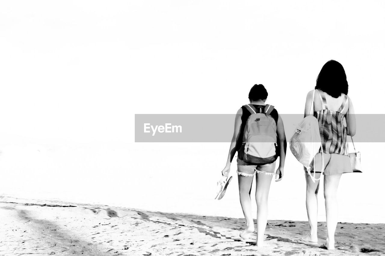 Full Length Rear View Of Friends Walking On Beach Against Clear Sky