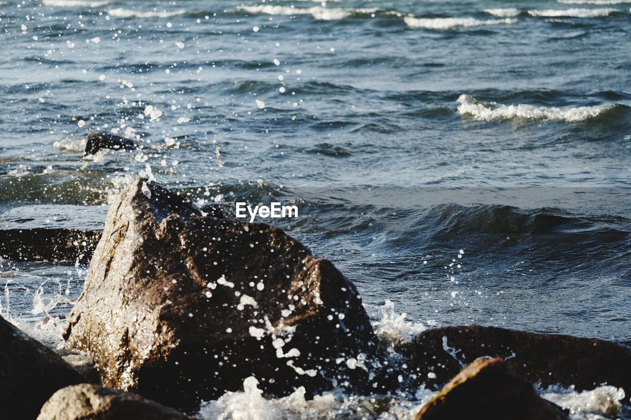 water, sea, motion, wave, splashing, beauty in nature, nature, day, rock, sport, surfing, beach, aquatic sport, solid, land, rock - object, outdoors, scenics - nature, power in nature, marine