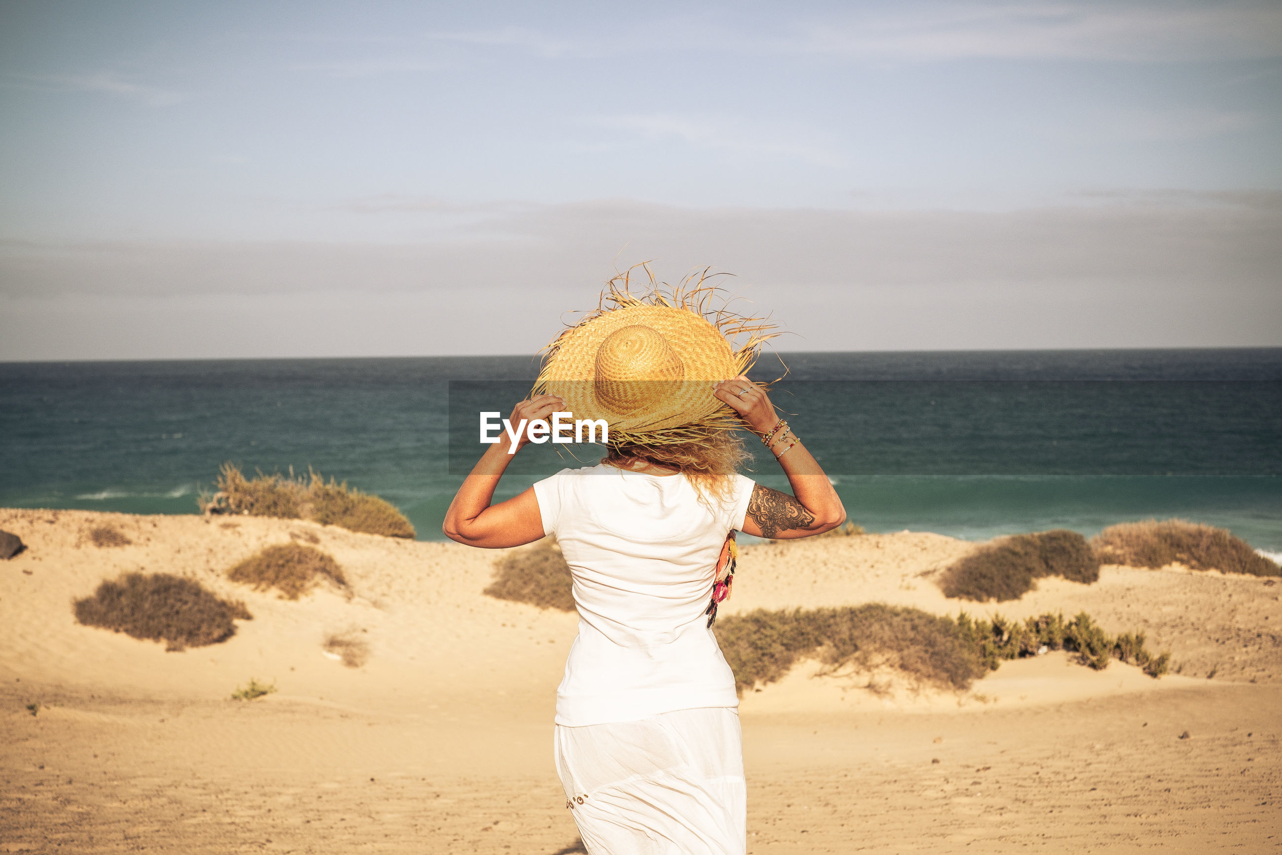 Rear view of woman wearing hat while looking at seascape