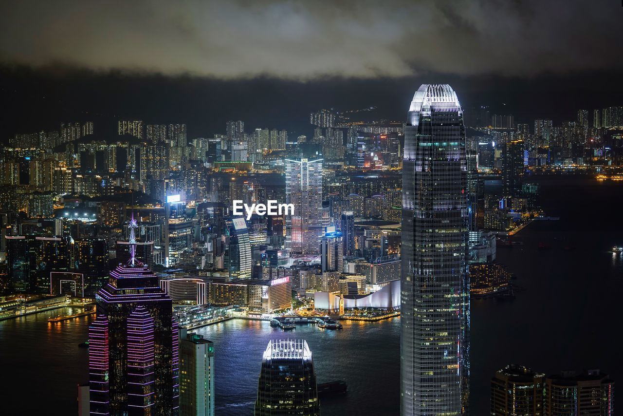 High Angle View Of Illuminated Victoria Harbour At Night