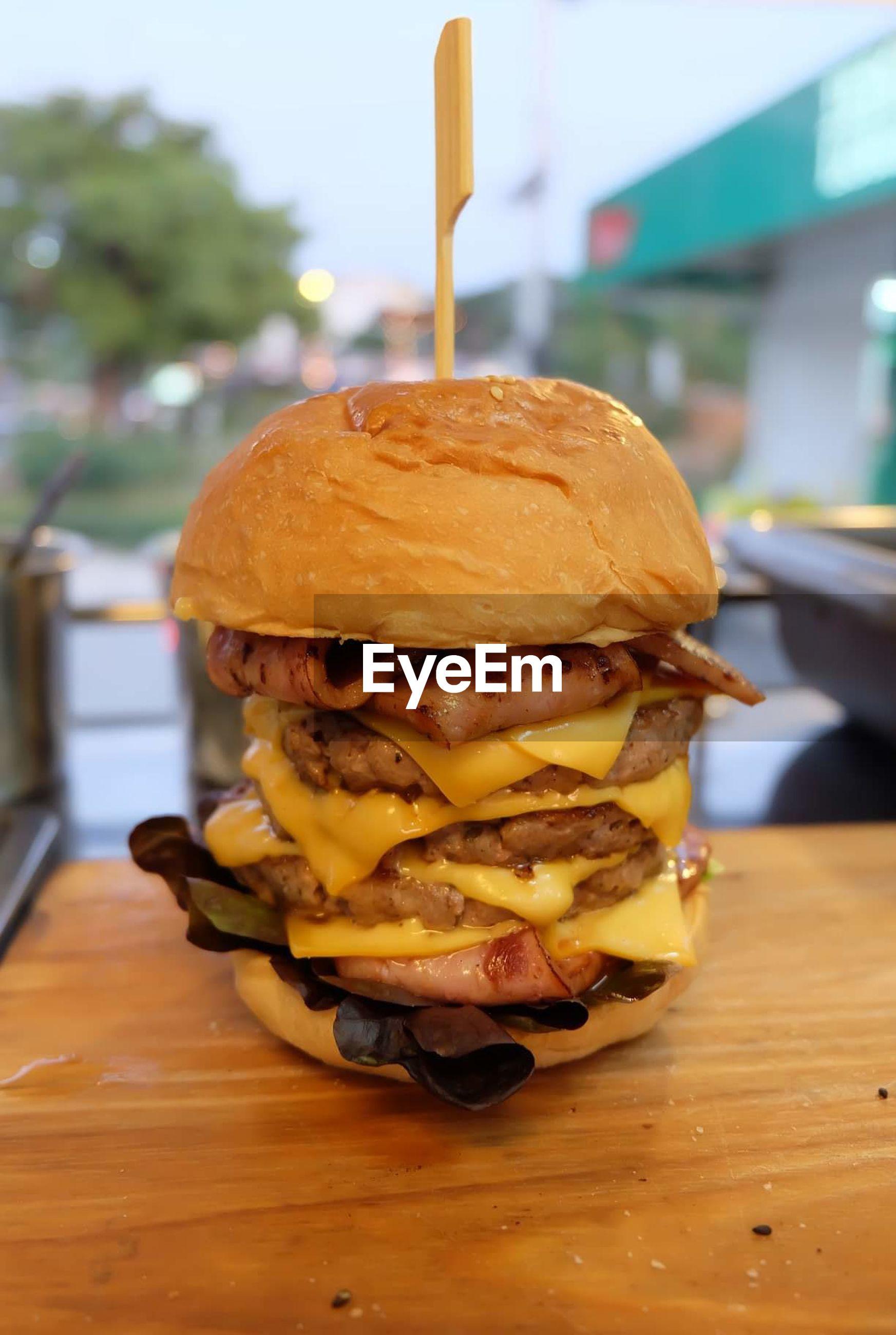 Close-up of burger in restaurant