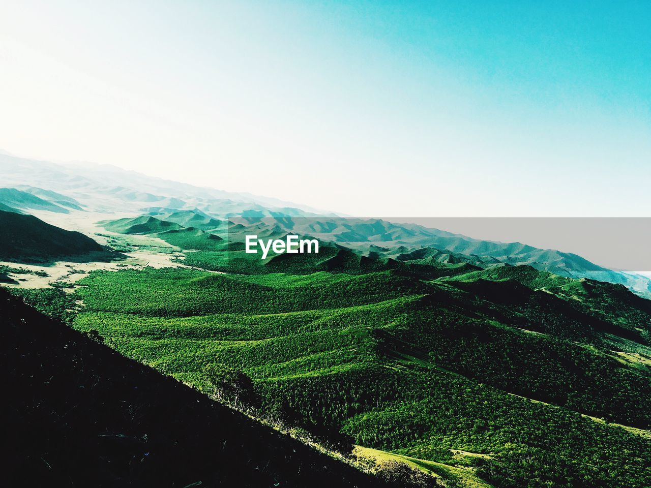 agriculture, beauty in nature, nature, landscape, scenics, mountain, tranquil scene, tranquility, farm, day, rural scene, green color, no people, outdoors, clear sky, field, terraced field, sky, tea crop