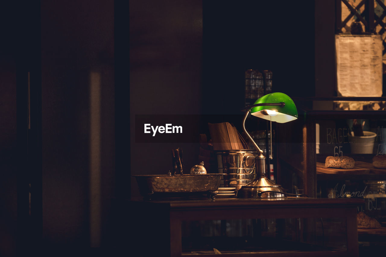 Illuminated Lamp On Table