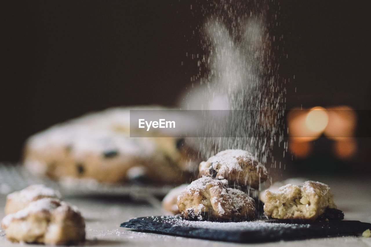 Close-Up Of Cookies With Flour