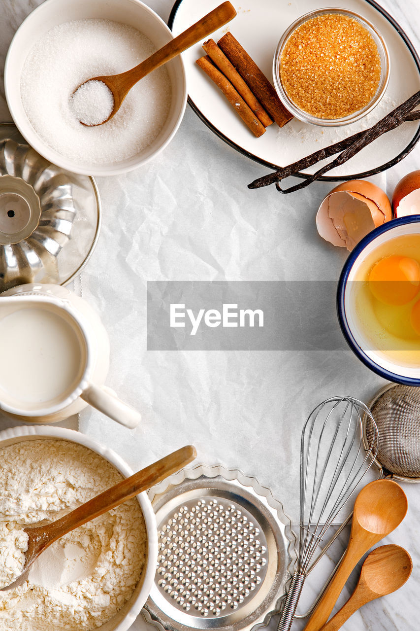 High angle view of baking ingredients on table at home