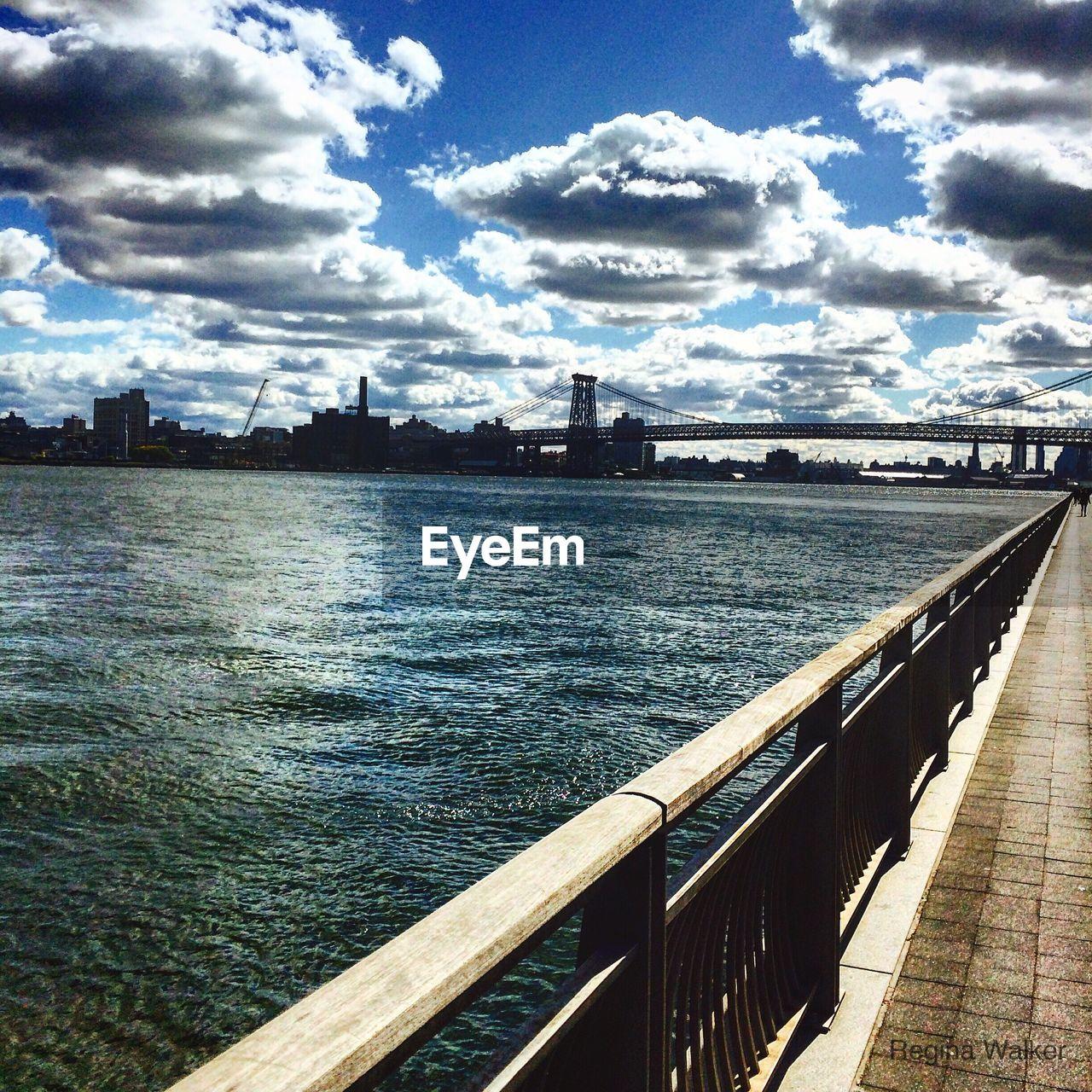 Hudson River In City Against Sky