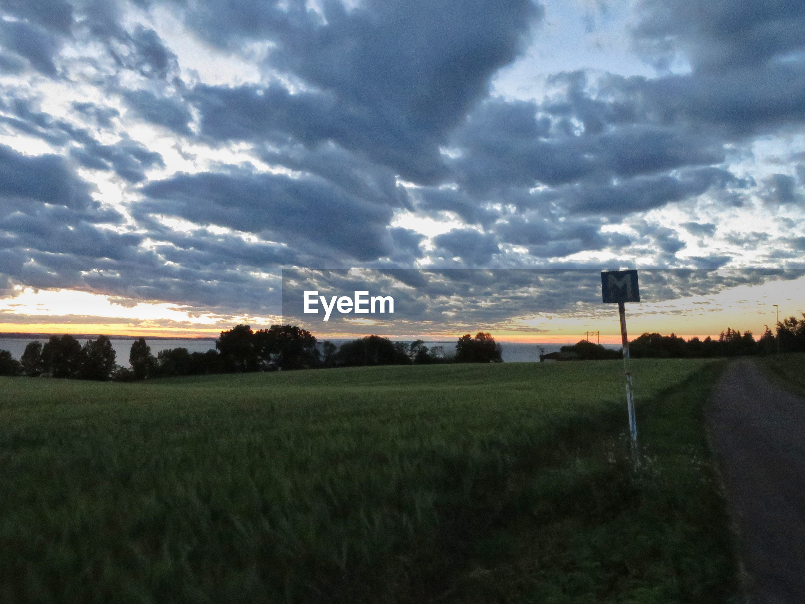sky, cloud - sky, sunset, nature, tranquil scene, tranquility, field, scenics, beauty in nature, no people, grass, landscape, outdoors, tree, road, growth, day