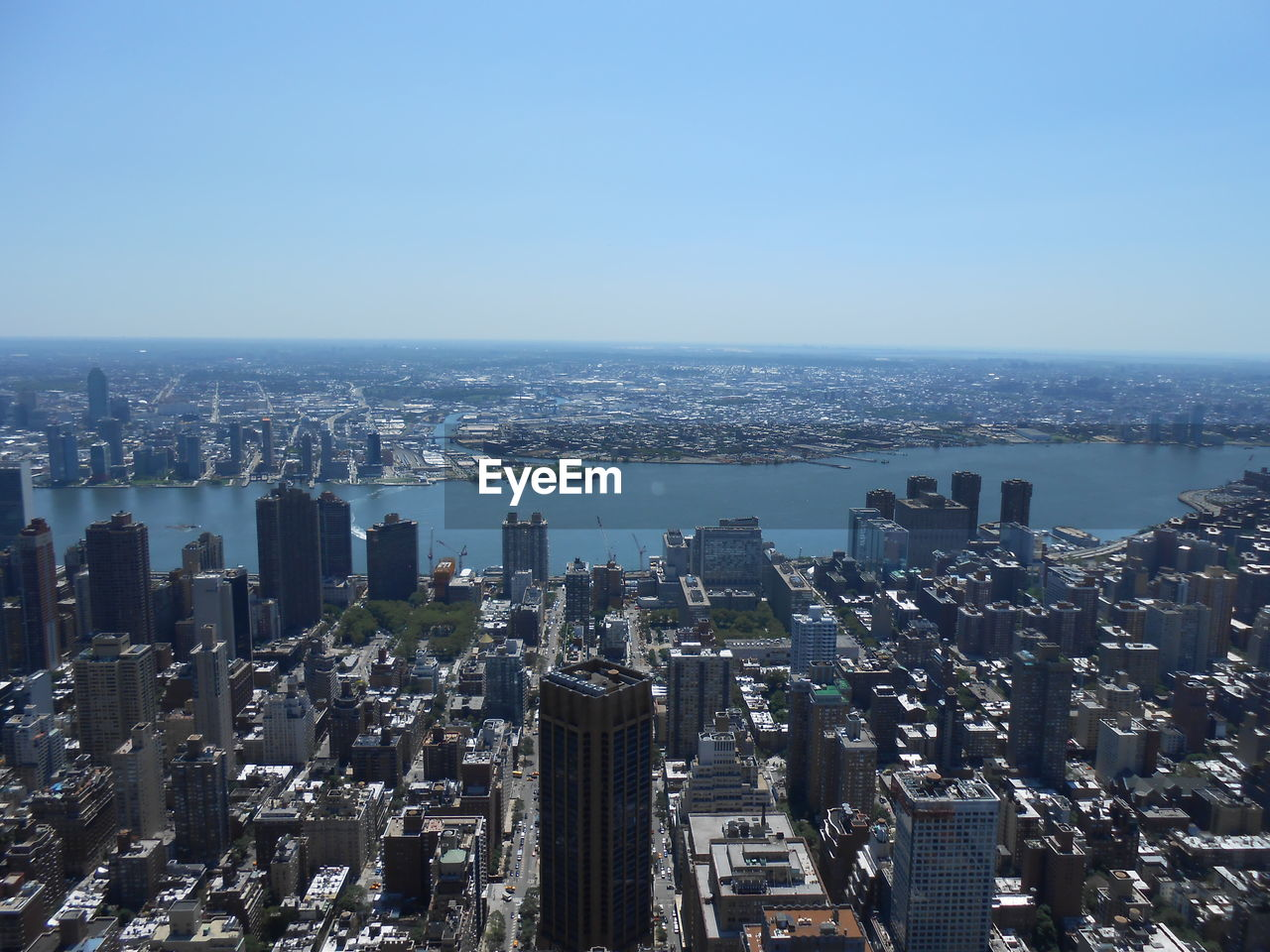 Aerial View Of City Buildings Against Clear Sky