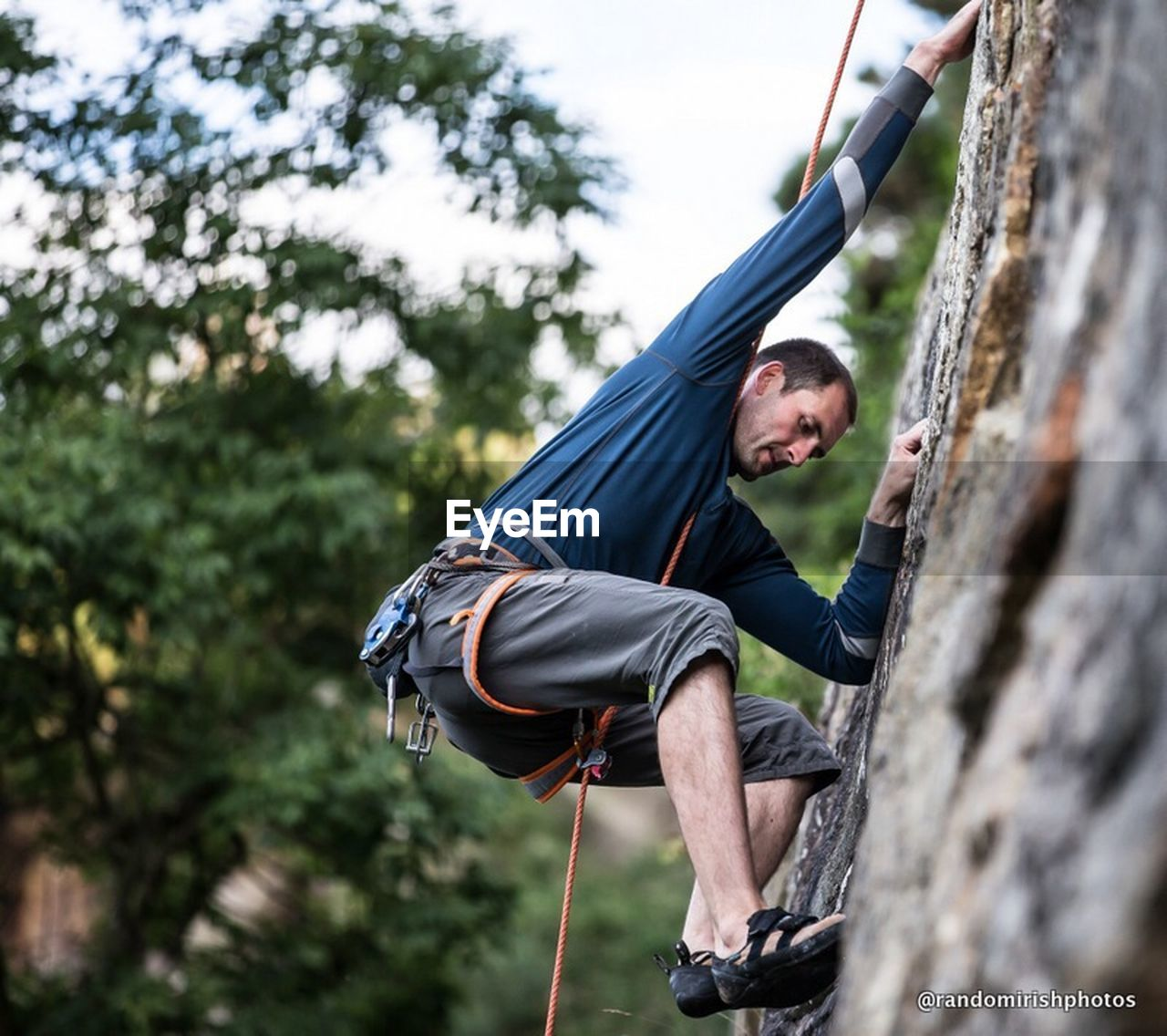 adventure, rope, one person, rock climbing, sport, day, risk, outdoors, tree, climbing, challenge, men, one man only, low angle view, real people, extreme sports, only men, nature, adults only, adult, people