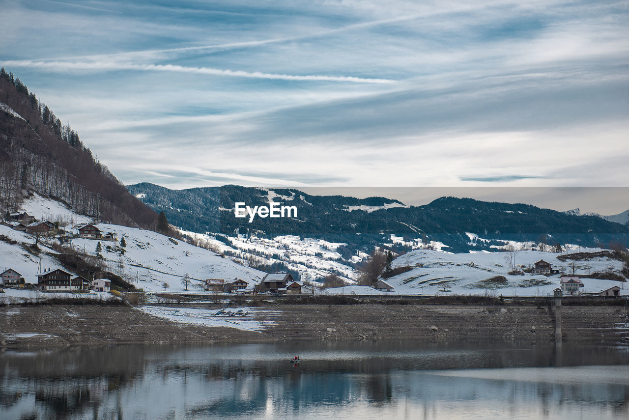 cold temperature, winter, mountain, snow, water, sky, scenics - nature, beauty in nature, environment, cloud - sky, mountain range, landscape, snowcapped mountain, nature, tranquil scene, waterfront, day, no people, ice, range