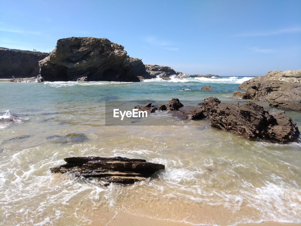 sea, water, rock, sky, rock - object, solid, beauty in nature, scenics - nature, horizon over water, land, horizon, beach, nature, rock formation, motion, no people, day, wave, tranquil scene, outdoors, power in nature, rocky coastline