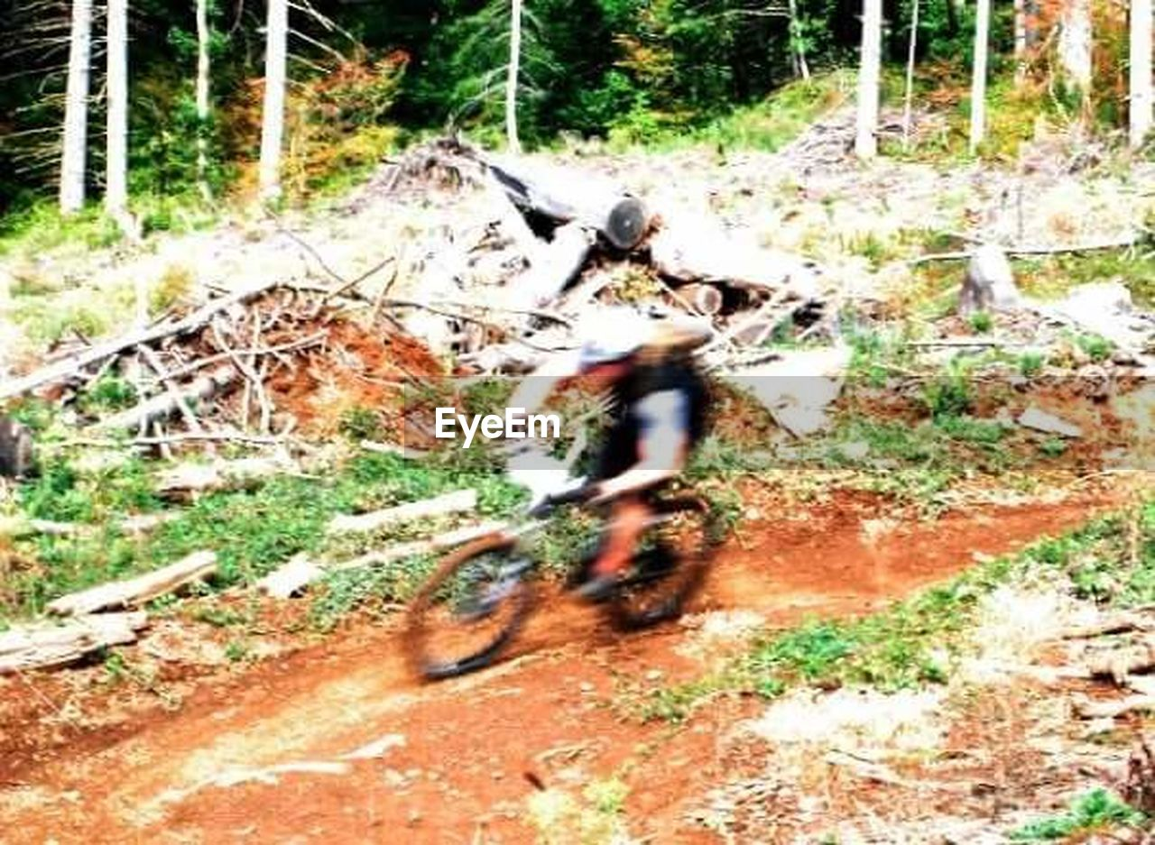 bicycle, motion, blurred motion, riding, speed, real people, transportation, land vehicle, one person, cycling, men, mode of transport, adventure, lifestyles, sports race, sport, day, motorcycle, mountain bike, leisure activity, outdoors, extreme sports, biker, nature, motocross, tree, people