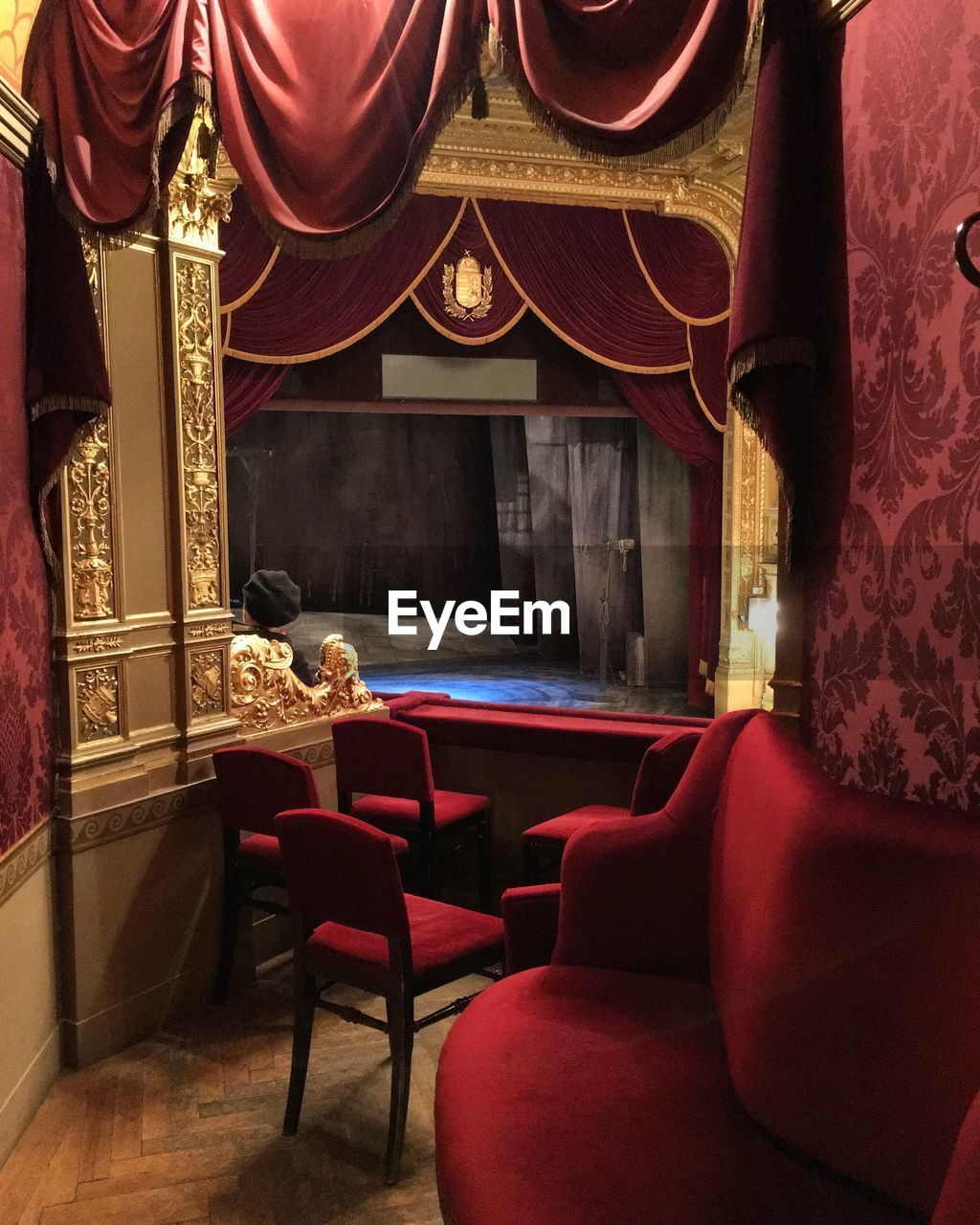 curtain, chair, indoors, no people, seat, stage - performance space, luxury, day