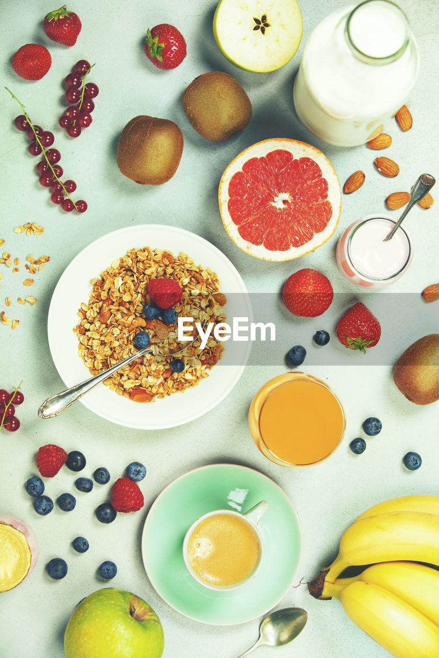 food, food and drink, healthy eating, freshness, table, fruit, wellbeing, high angle view, indoors, directly above, still life, breakfast, meal, no people, ready-to-eat, choice, bowl, berry fruit, serving size, plate