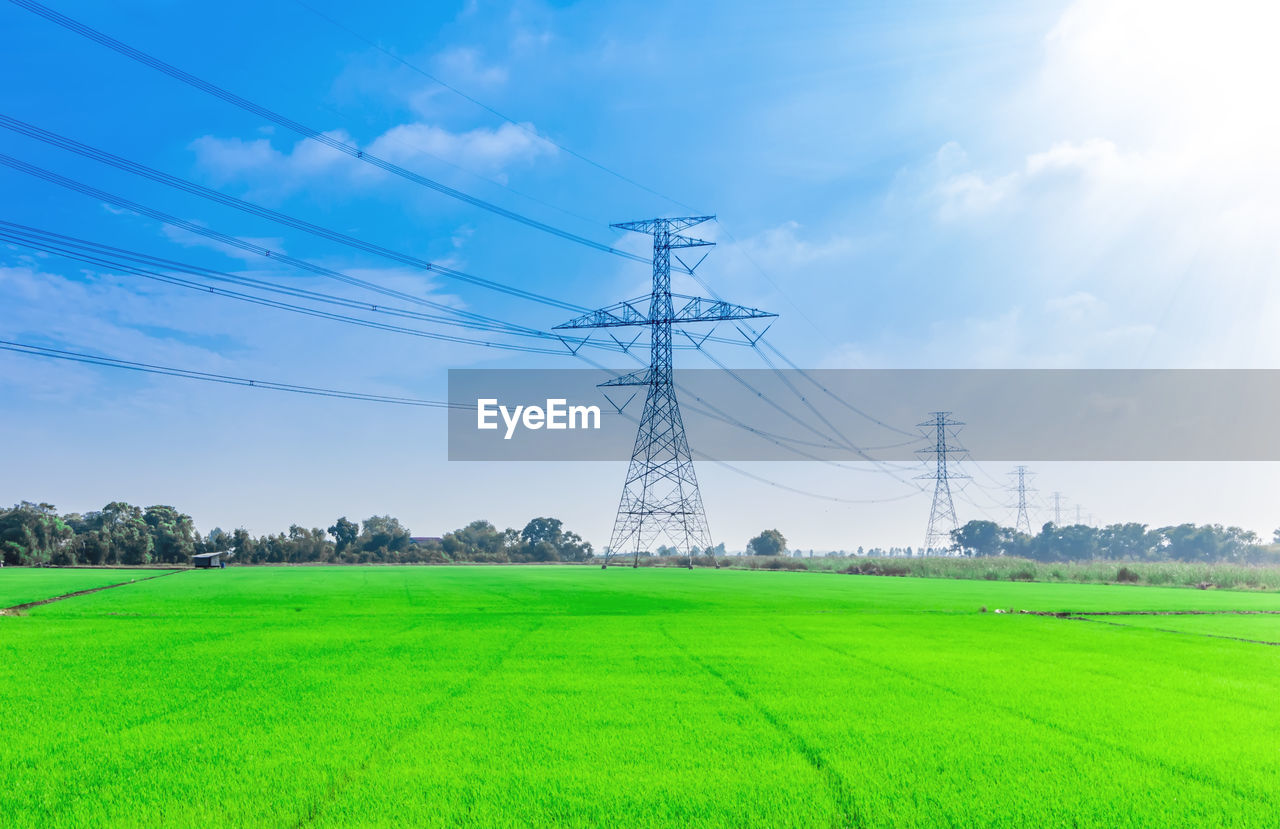 ELECTRICITY PYLON ON AGRICULTURAL FIELD AGAINST SKY