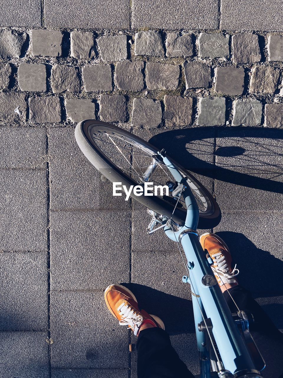 Low section of person with bicycle on street