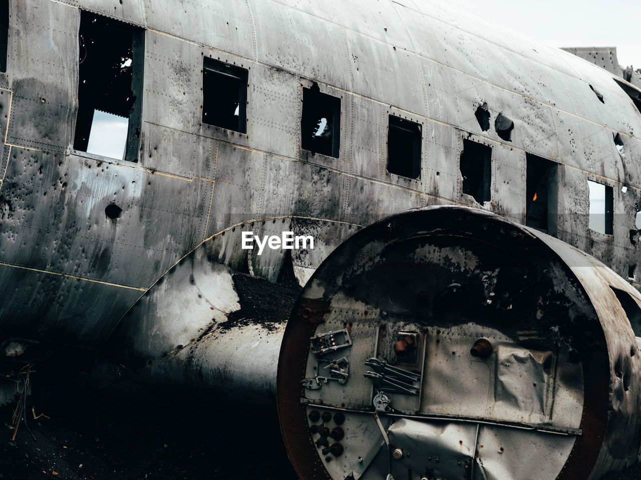 Low Angle View Of Damaged Airplane