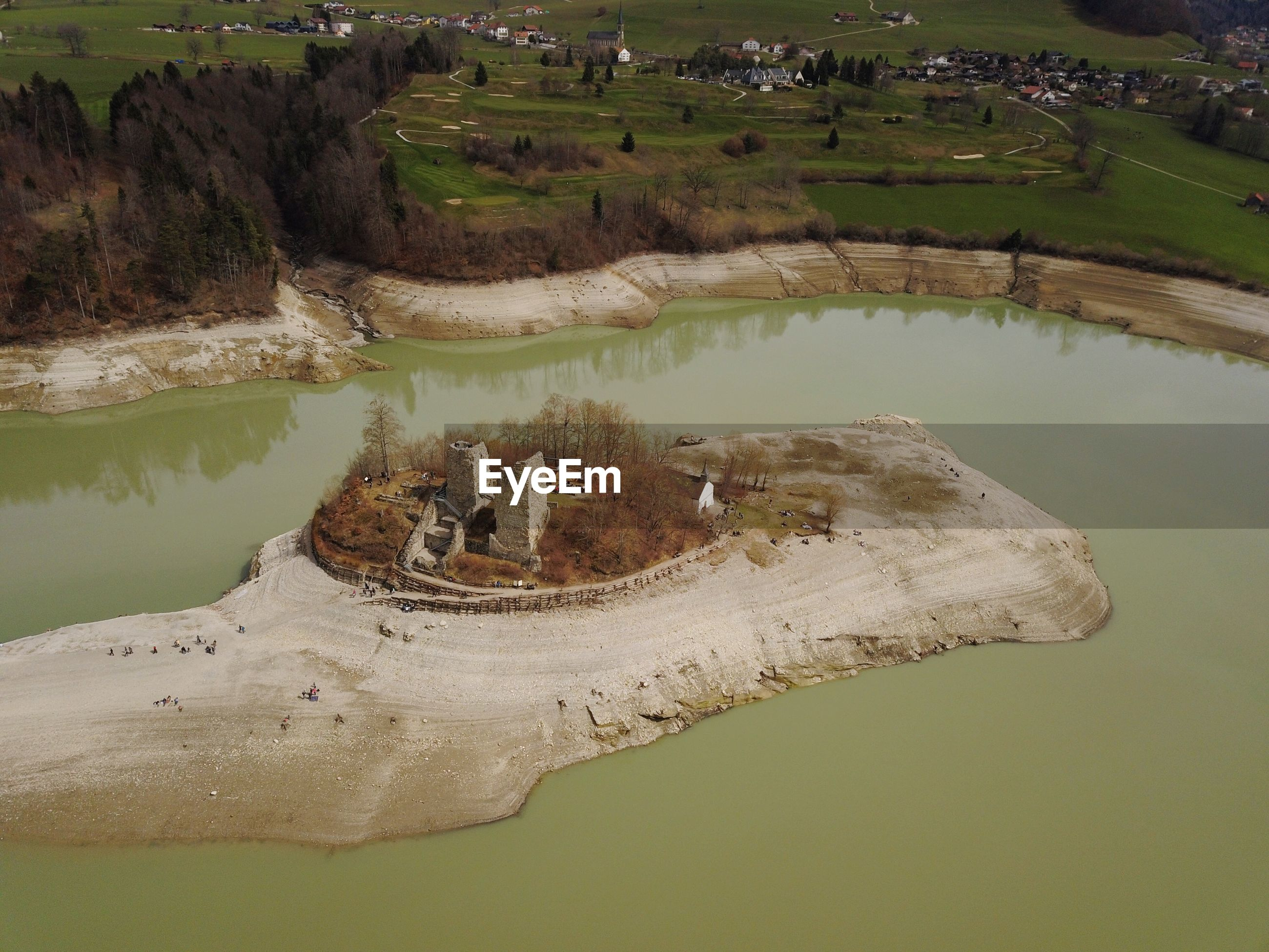 HIGH ANGLE VIEW OF LAKE ALONG SIDE