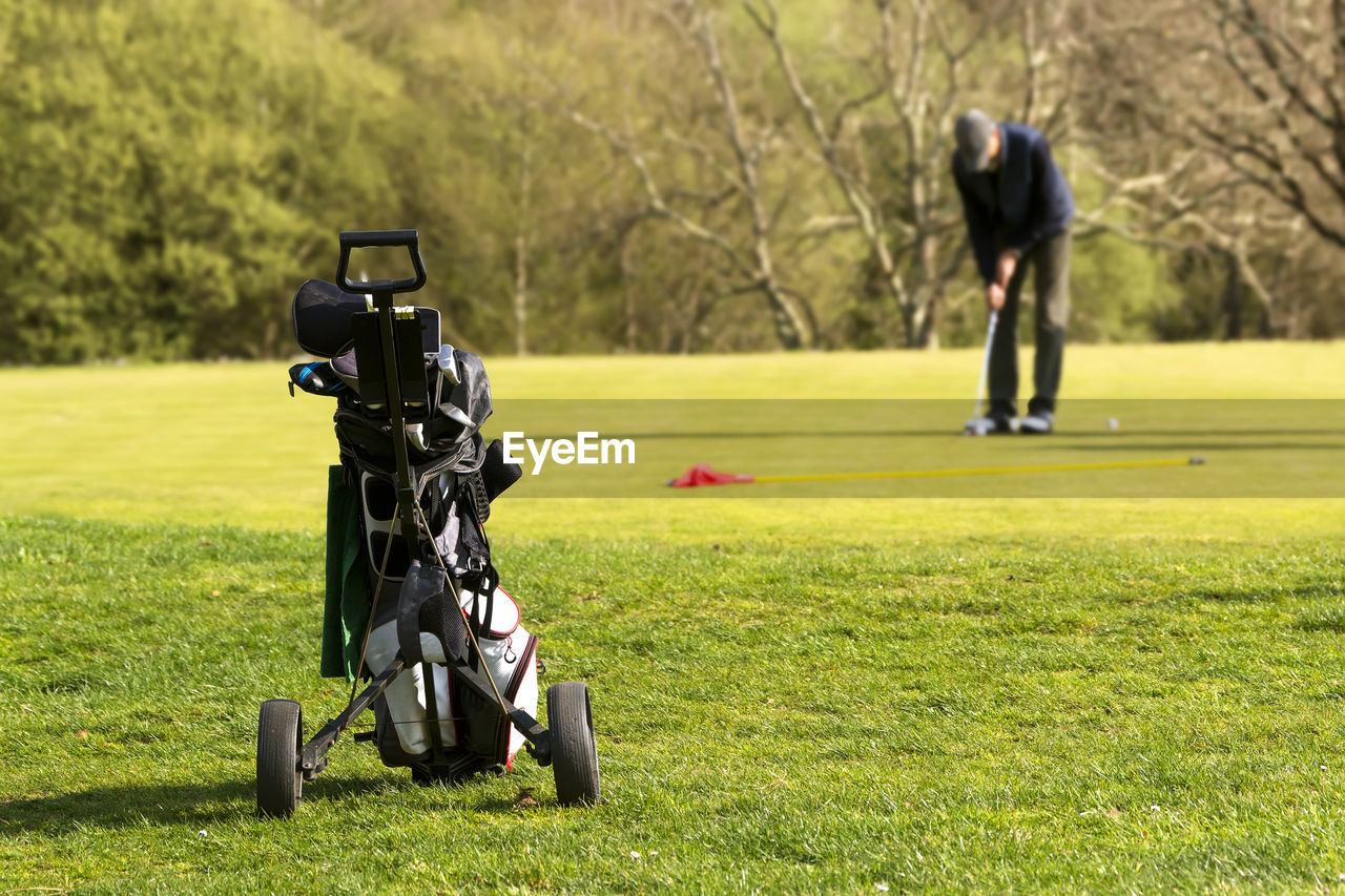 grass, plant, golf course, sport, golf, golf bag, activity, golf club, green - golf course, leisure activity, nature, day, green color, sunlight, one person, focus on foreground, weekend activities, outdoors, real people