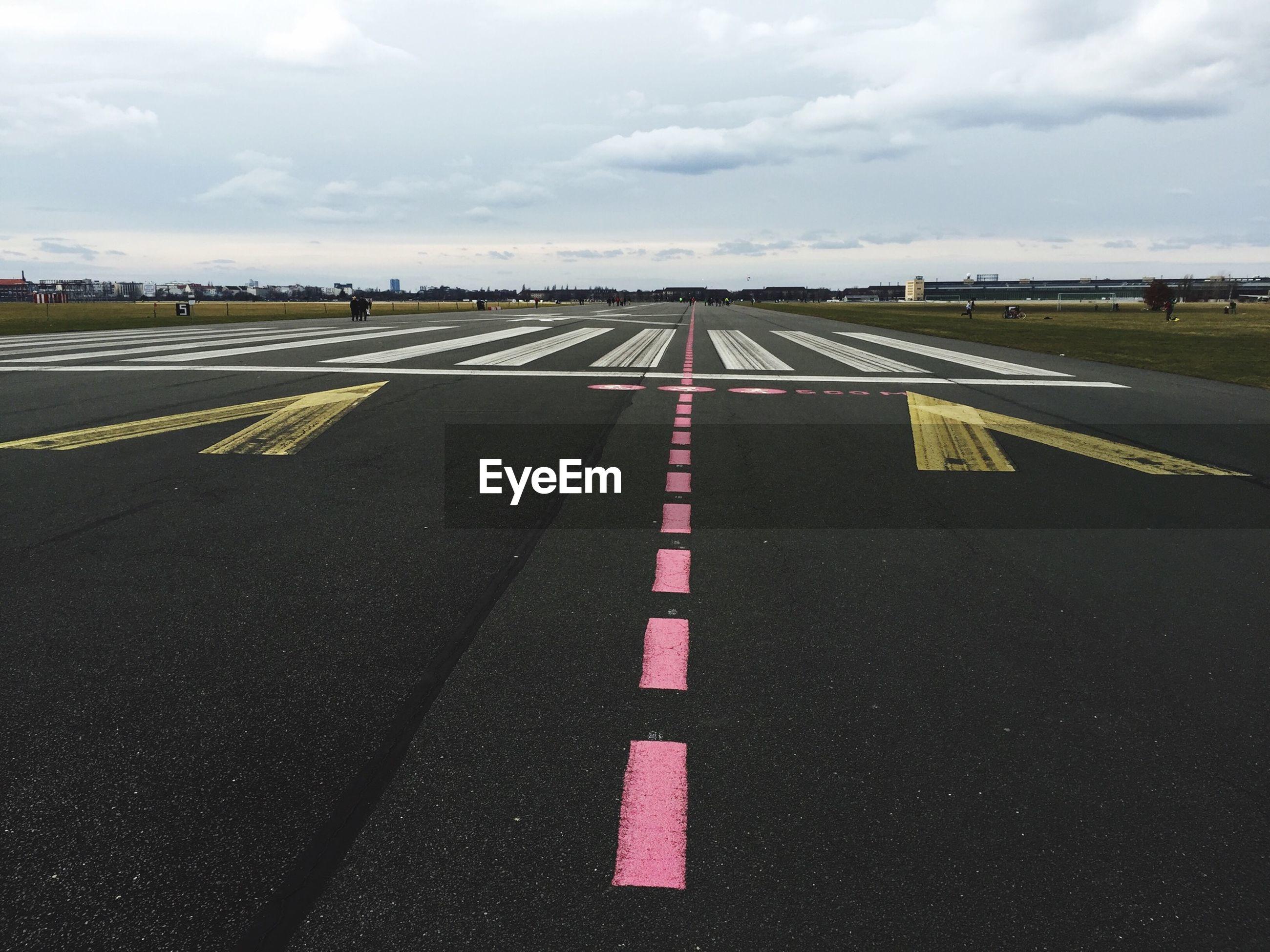 Pink strip on runway