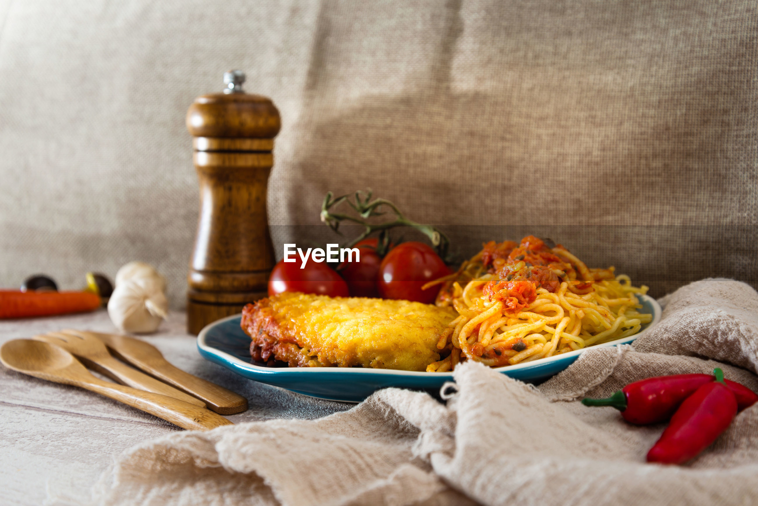 Close-up of spaghetti served in plate