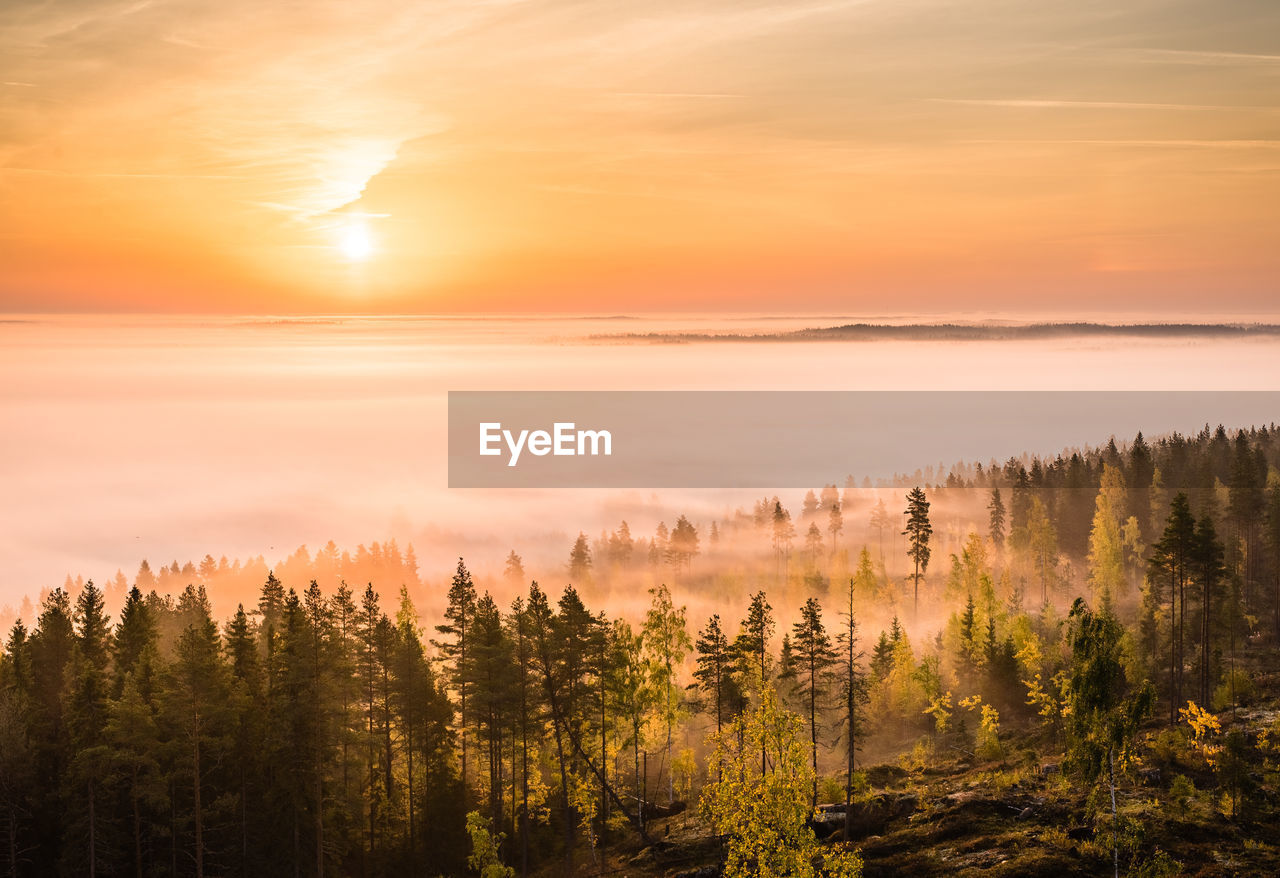 Scenic View Of Landscape Against Sky During Sunrise