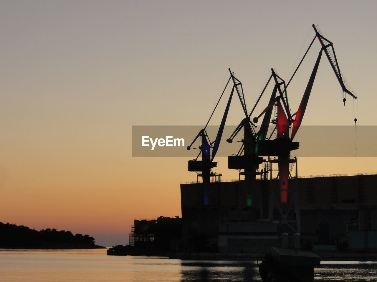 sunset, crane - construction machinery, silhouette, sky, water, waterfront, construction site, freight transportation, outdoors, industry, no people, crane, transportation, nature, clear sky, scenics, commercial dock, beauty in nature, day, oil pump