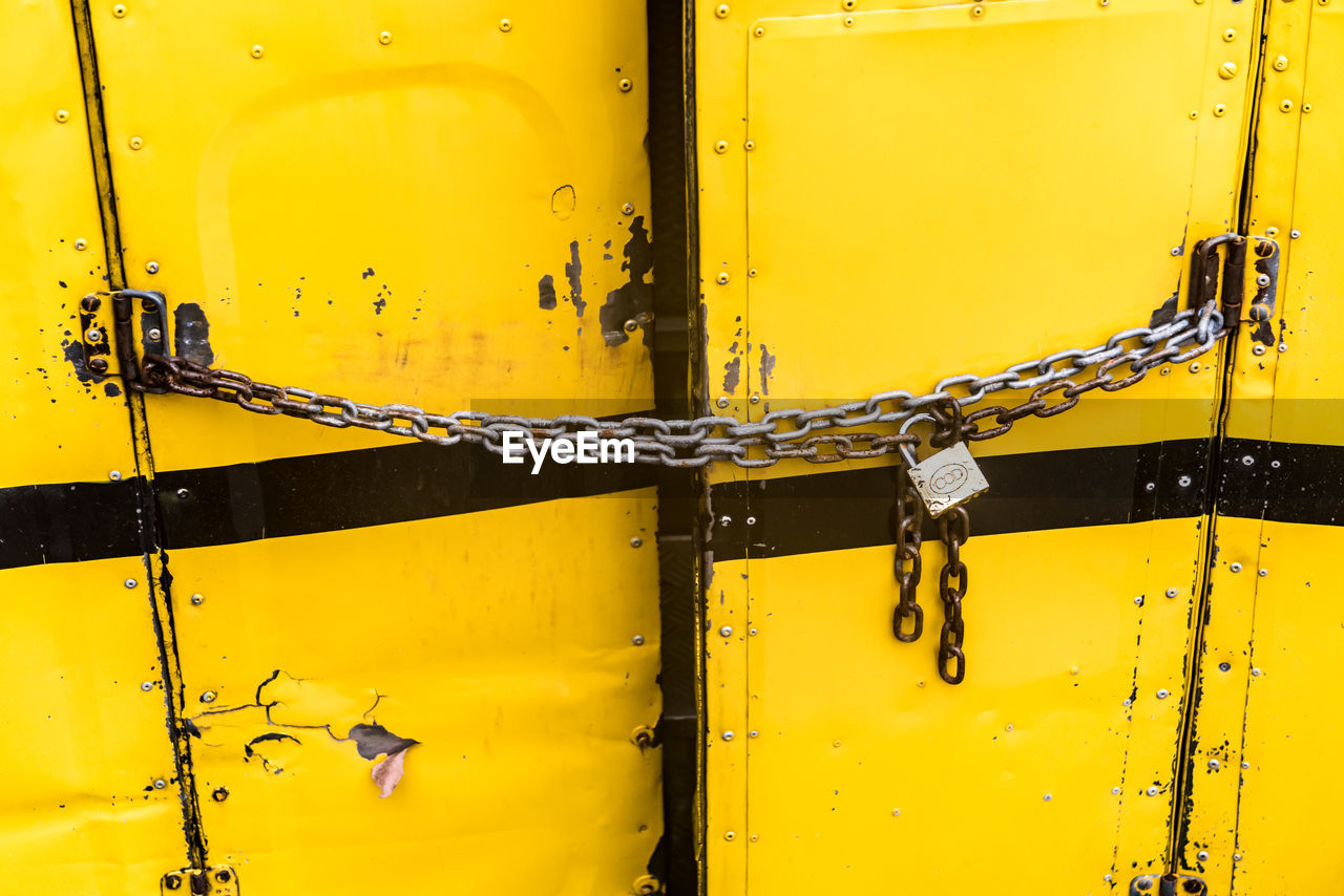 yellow, metal, close-up, no people, safety, outdoors, day, full frame