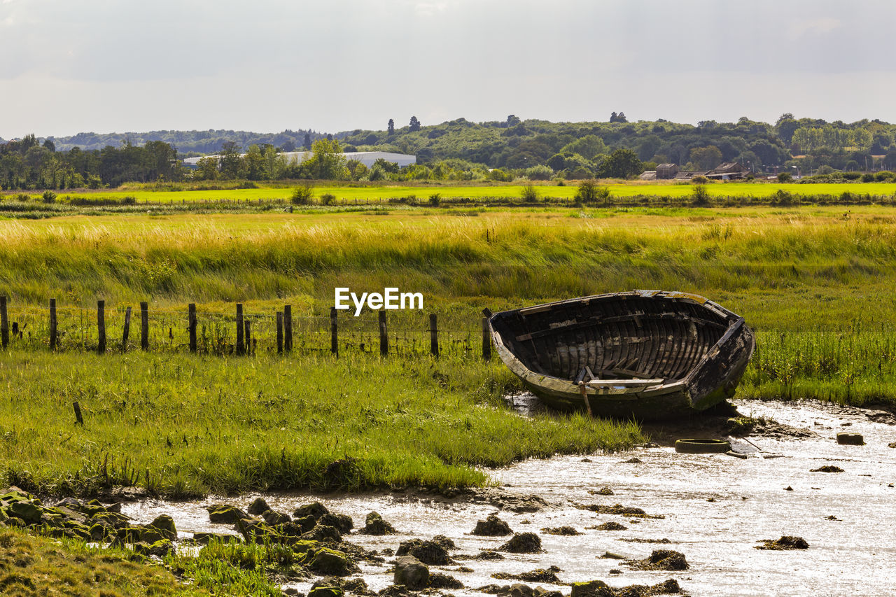 water, tranquility, landscape, nature, tranquil scene, plant, no people, environment, scenics - nature, green color, day, sky, land, field, grass, beauty in nature, nautical vessel, non-urban scene, transportation, outdoors, rowboat, swamp