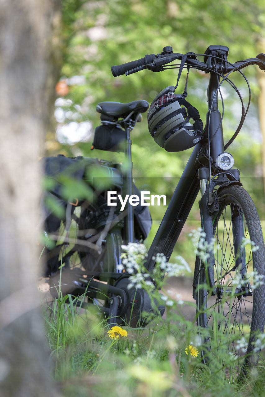 transportation, mode of transportation, land vehicle, bicycle, plant, selective focus, day, stationary, no people, nature, field, land, outdoors, grass, wheel, growth, travel, green color, close-up, metal, tire, spoke
