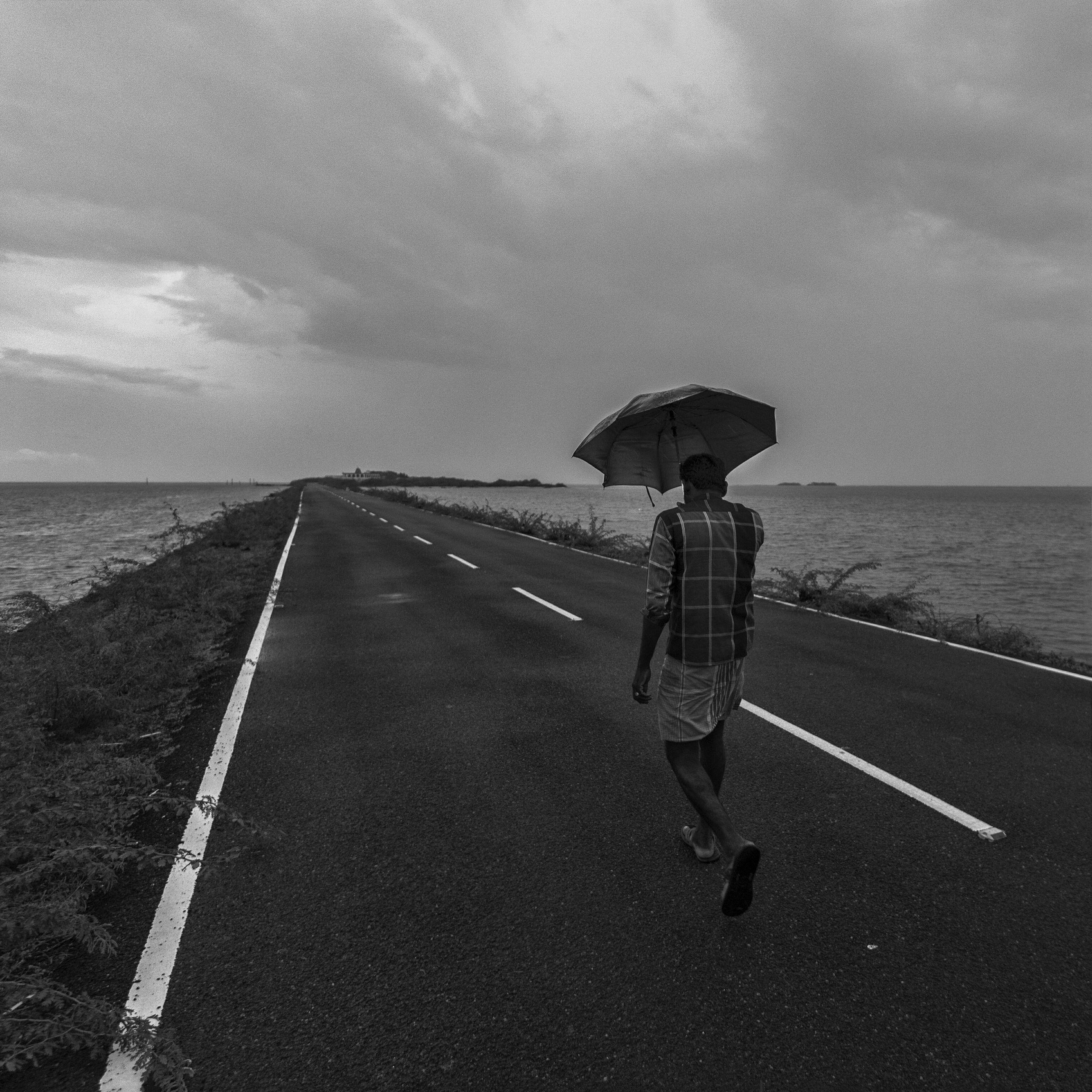 Rear view of man under umbrella on road leading towards sea