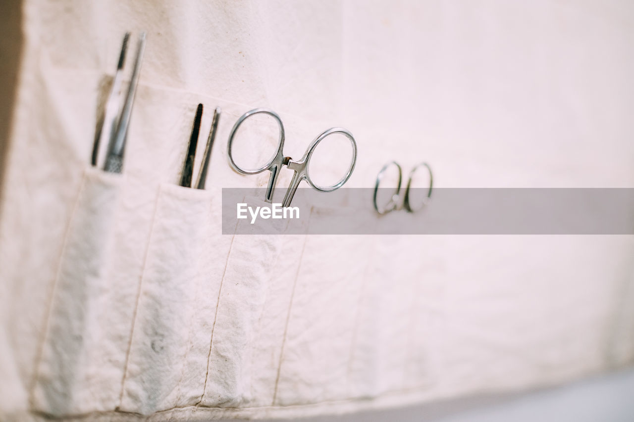 Close-up of equipment in belt