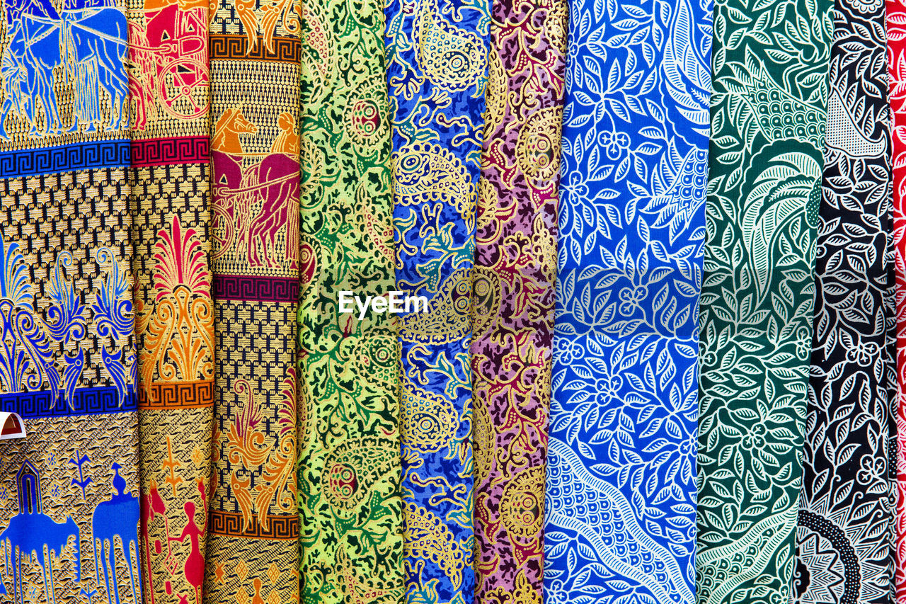 multi colored, pattern, textile, backgrounds, full frame, variation, choice, for sale, no people, retail, art and craft, market, design, craft, blue, large group of objects, side by side, in a row, small business, indoors, retail display, sale, silk, floral pattern