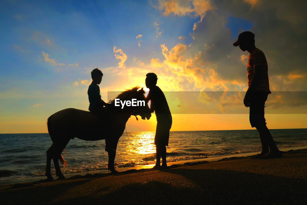 Silhouette People With Horse At Beach Against Sky During Sunset