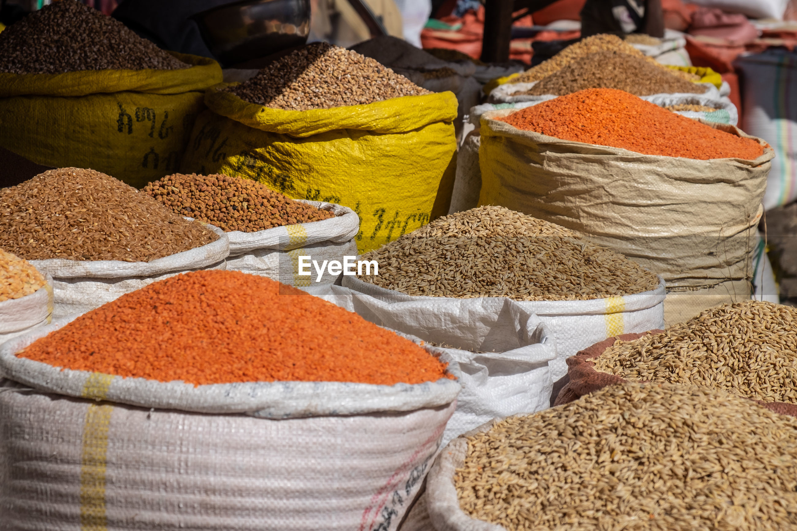 CLOSE-UP OF SPICES FOR SALE IN MARKET