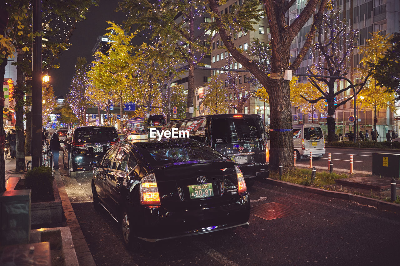 mode of transportation, transportation, tree, car, land vehicle, motor vehicle, plant, city, street, architecture, night, illuminated, building exterior, built structure, road, outdoors, incidental people, nature, growth