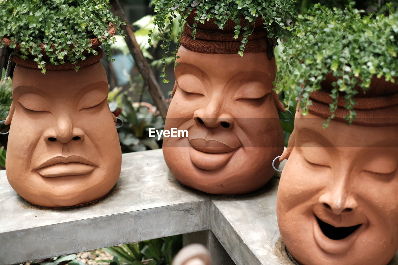 human representation, male likeness, representation, sculpture, creativity, statue, plant, art and craft, close-up, day, no people, craft, female likeness, growth, outdoors, potted plant, nature, carving - craft product, focus on foreground, face