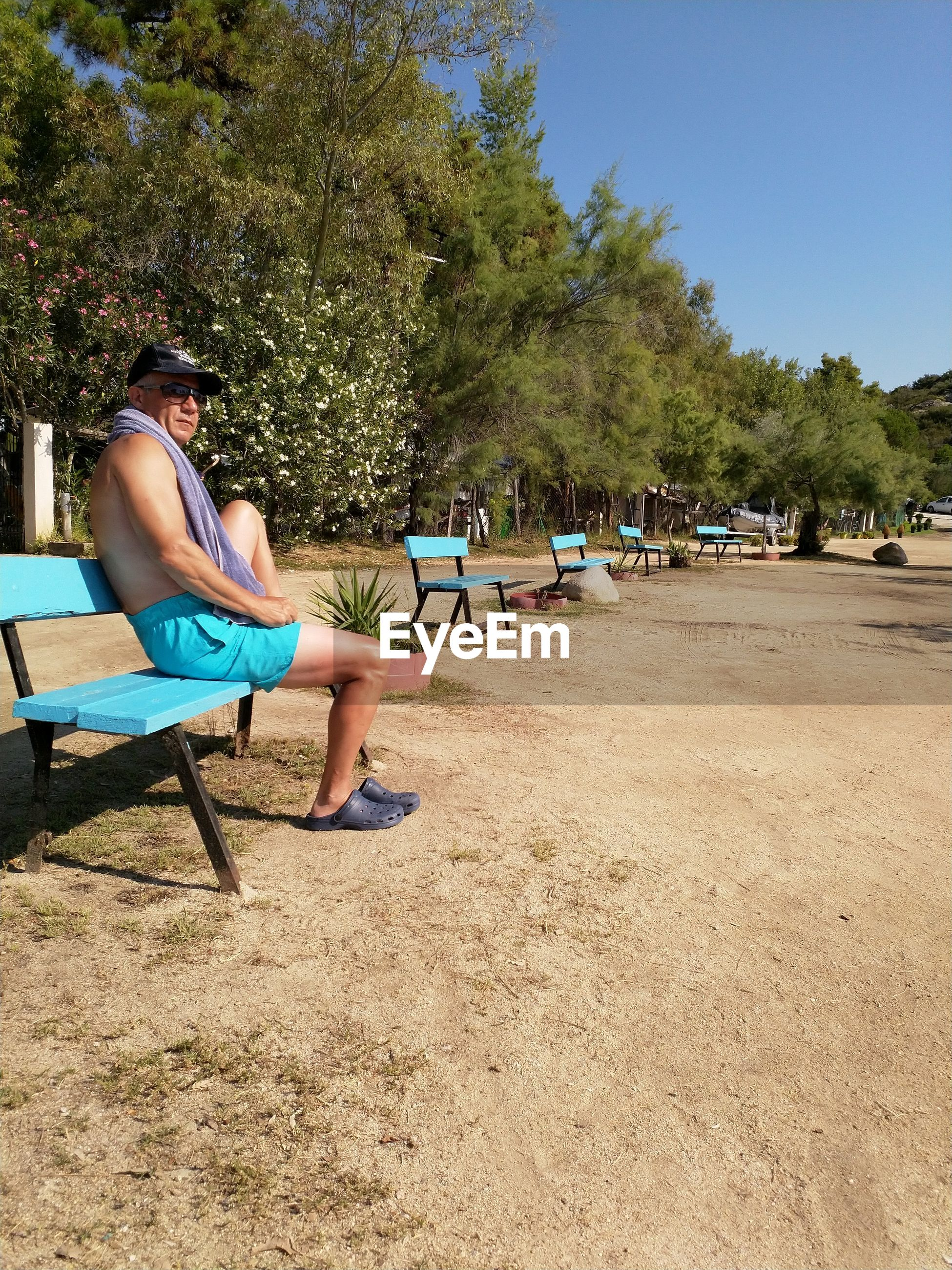 tree, sitting, plant, seat, real people, day, full length, chair, leisure activity, nature, lifestyles, men, casual clothing, people, sunlight, incidental people, relaxation, growth, bench, land, outdoors