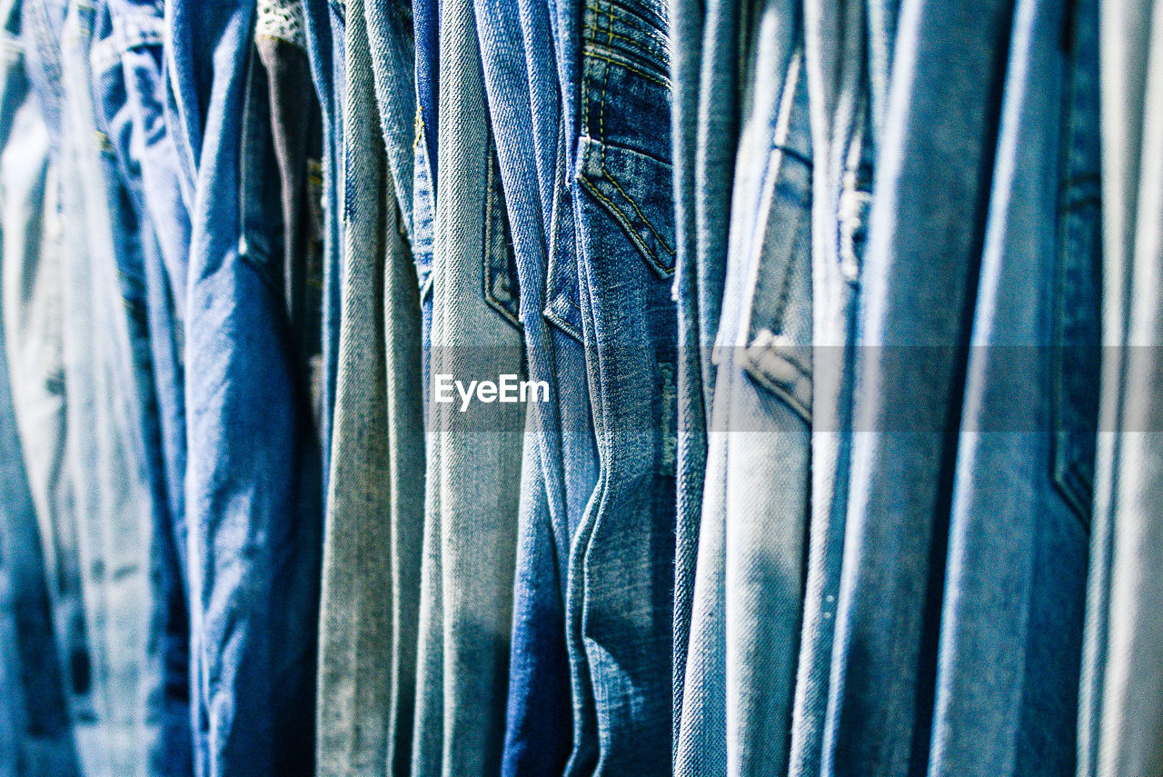 Full Frame Shot Of Jeans For Sale At Street Market