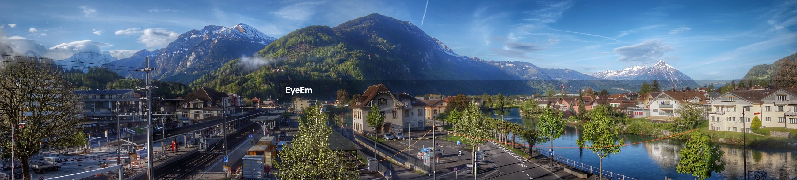 Houses in town with mountain range in background