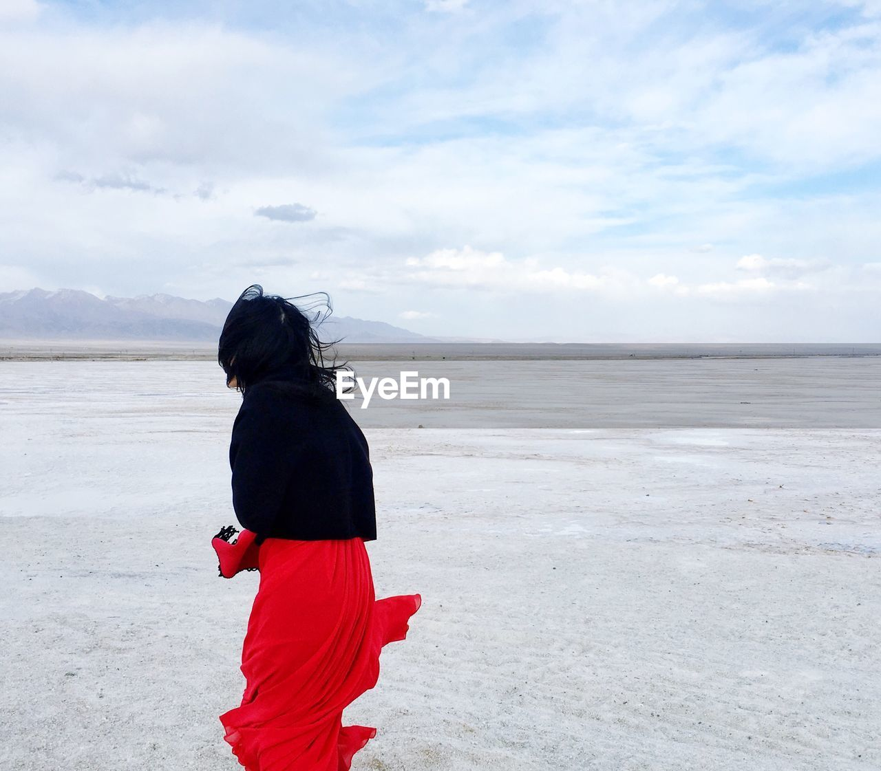 Rear view of woman standing on sand at beach against sky