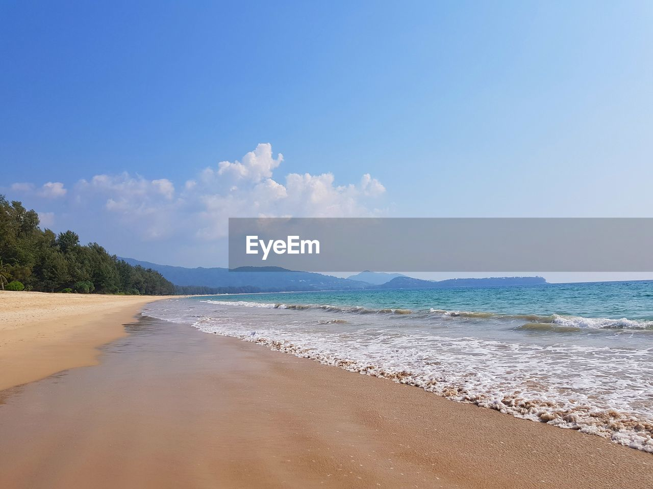 water, sea, land, beach, sky, beauty in nature, scenics - nature, tranquility, sand, tranquil scene, cloud - sky, nature, idyllic, non-urban scene, day, motion, tree, no people, wave, outdoors