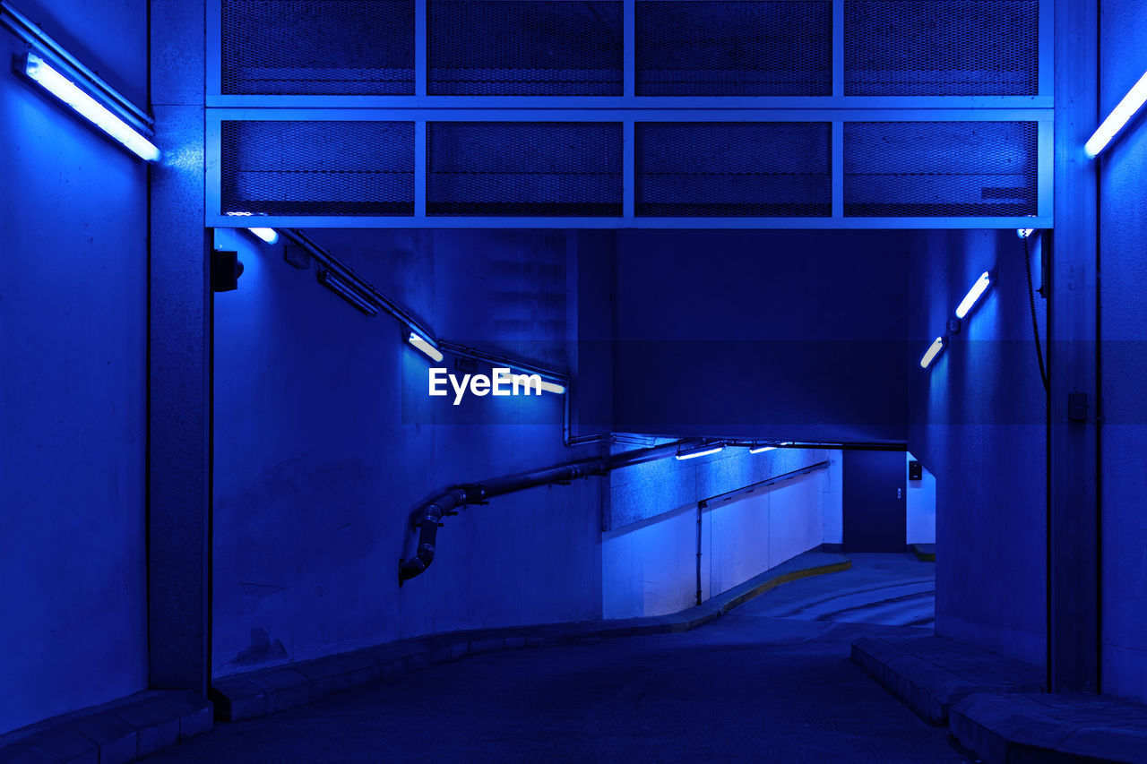 architecture, built structure, no people, steps and staircases, illuminated, indoors, blue, day