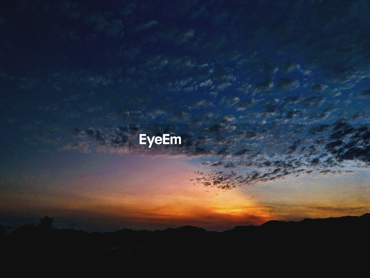 sky, sunset, beauty in nature, silhouette, cloud - sky, scenics - nature, tranquility, tranquil scene, idyllic, orange color, nature, no people, environment, landscape, dusk, dramatic sky, outdoors, low angle view, non-urban scene, mountain