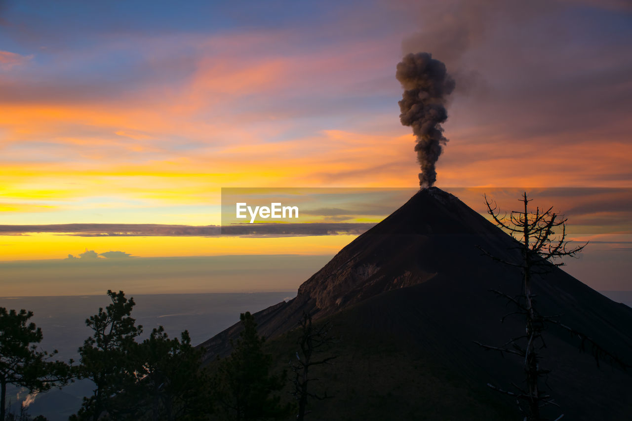 Acatenango Volcano Against Sky During Sunset