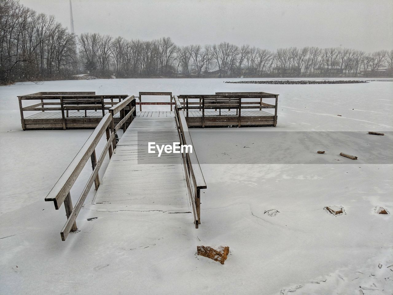 winter, snow, cold temperature, no people, day, absence, nature, empty, tranquility, scenics - nature, wood - material, railing, water, seat, outdoors, beauty in nature, bench, tranquil scene