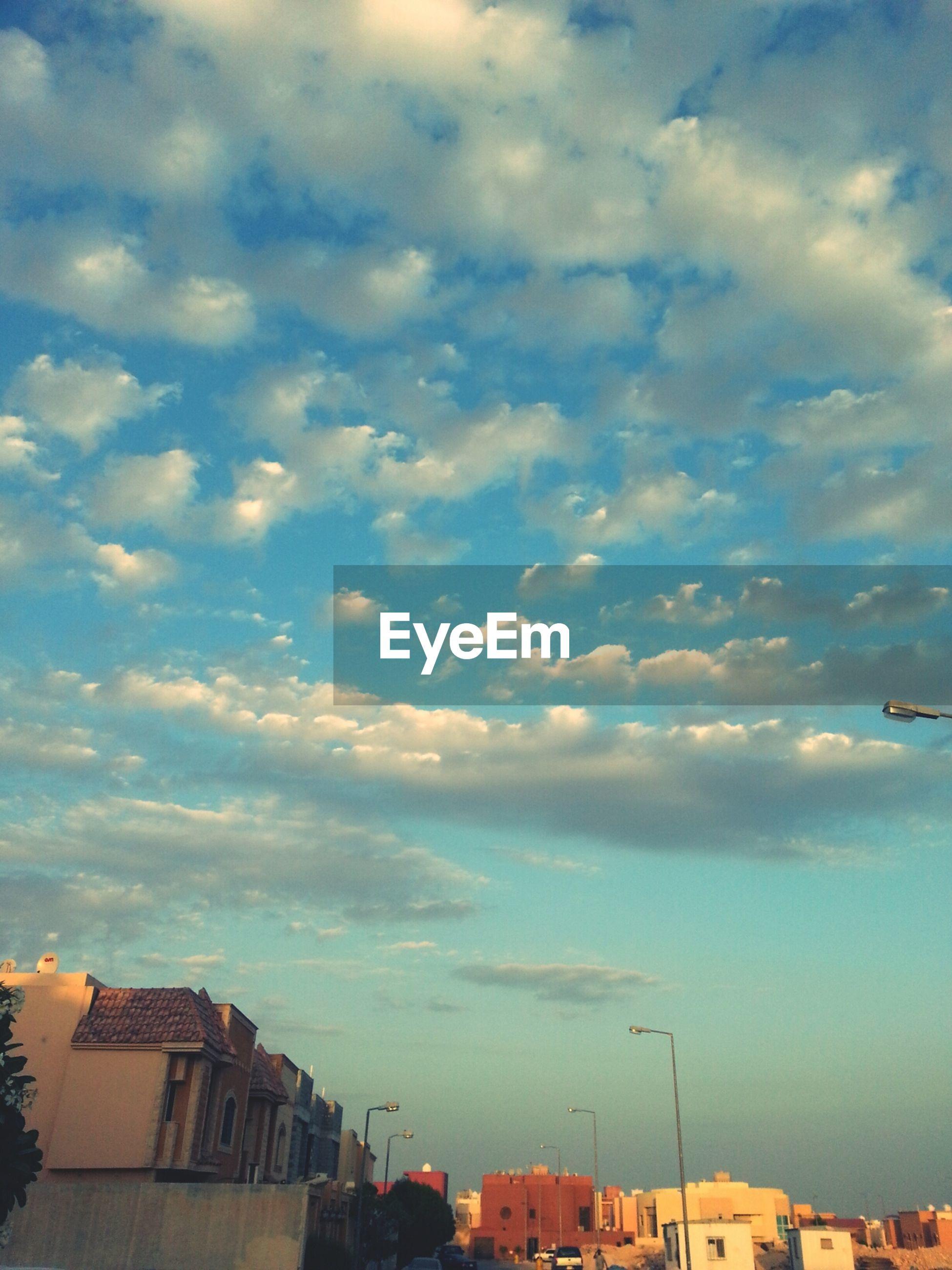 Altocumulus clouds over city