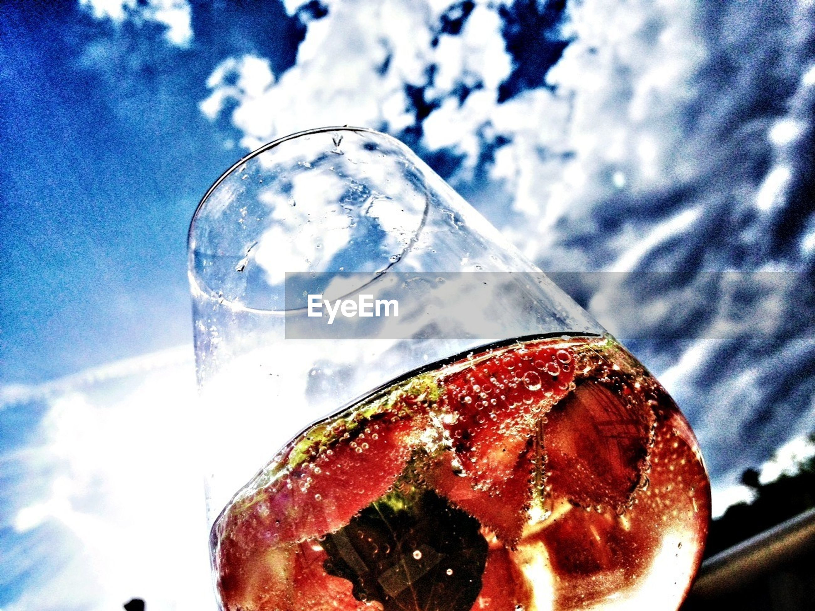 food and drink, glass - material, freshness, refreshment, sky, drink, transparent, food, drinking glass, indoors, close-up, ready-to-eat, sweet food, indulgence, cloud - sky, still life, glass, table, dessert, unhealthy eating